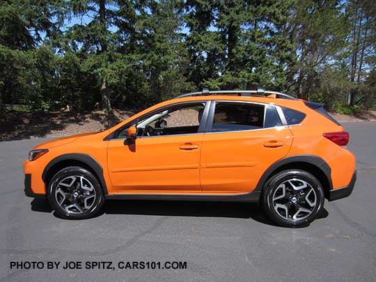 Side View 2018 Subaru Crosstrek Limited Has 18 Alloy Wheels Sunshine Orange Shown With