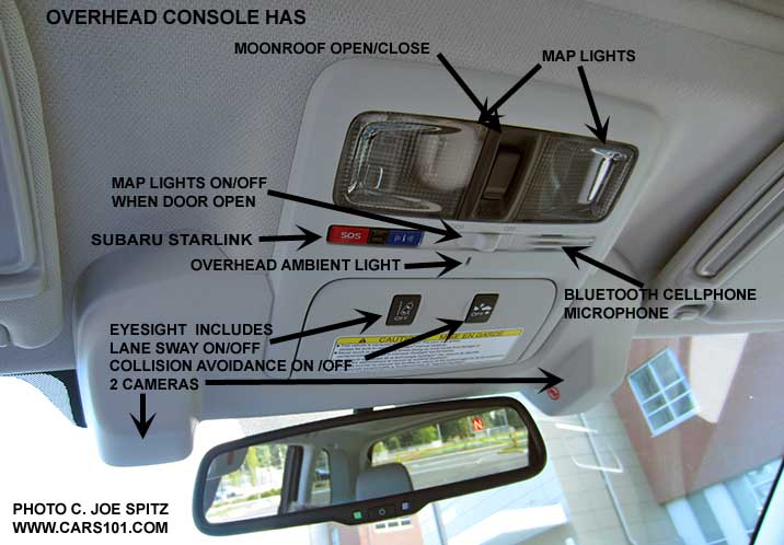 Captioned 2016 Subaru Forester Overhead Console With Map Lights Moonroof Open Close Eyesight