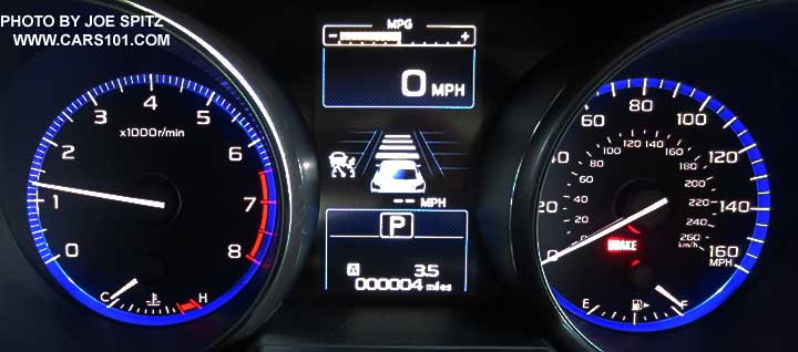 2017 Outback Dash Instrument Panel Gauges Shown With Eyesight Active Cruise Control Center Display