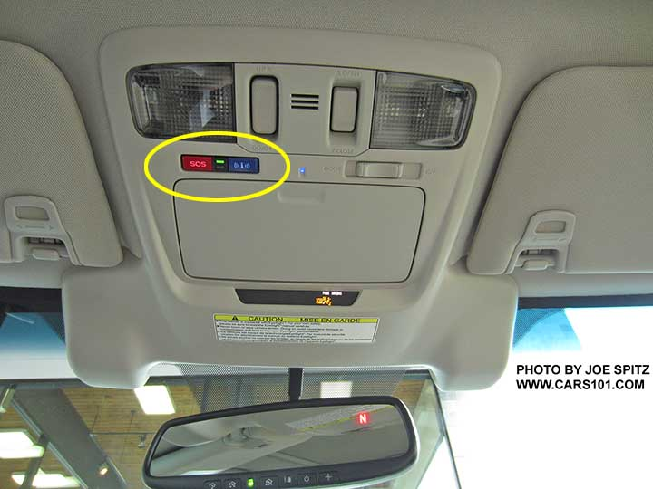 2016 Subaru Outback Overhead Console With Optional Eyesight And Standard Starlink Connected Services Ons Circled
