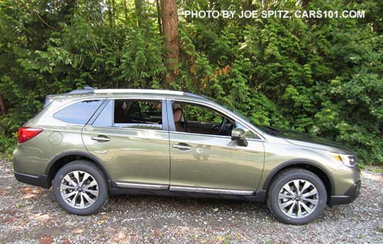 Side View 2017 Subaru Outback Touring Model Wilderness Green Shown 18 Machined Silver