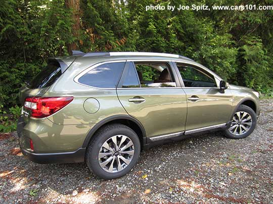 2017 Subaru Outback Touring Wilderness Green Shown Low Profile Silver Roof Rails Chrome