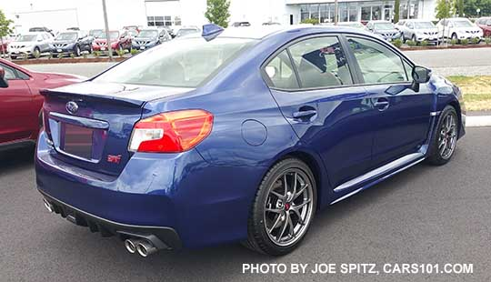 2017 And 2016 Subaru Wrx Sti Limited With Small Rear Trunk Lip Spoiler Lapis Blue