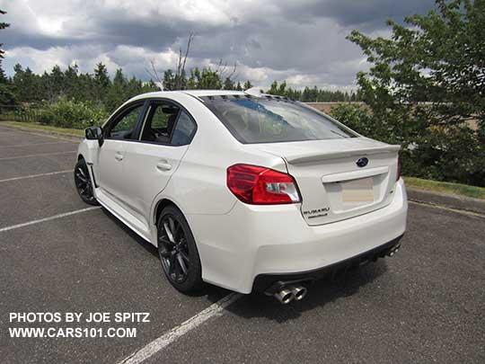 Rear View 2018 Subaru Wrx Premium Crystal White Color